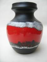 Bay 82-17 red and black ceramic fat lava vase
