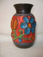 Bay 94-20 Floral blue green orange west German fat lava vase