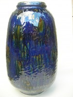 Carstens C 186-44 Fat Lava Blue Floor Vase West German
