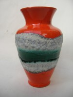 D & B 120-20 Orange and Green Lava Vase West Germany