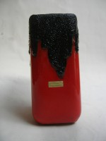 Roth - Unmarked red and Black West German Lava Vase