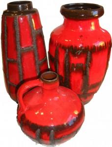 Rusch Red Fat Lava Glaze Costa Decor
