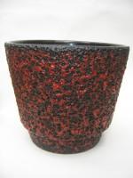 Jopeko Plant Pot West German Pottery Vintage Lava Red Black