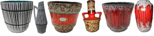 West German Plant pots with Matching Vases Pottery Fat Lava
