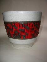 Plant Pot West German Fat Lava Red White Black