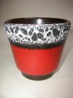 Plant Pot West German Fat Lava red black