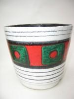 Scheurich Plant Pot West German Pottery Red Green
