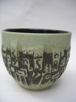 U Keramik 208-13 Plant Pot West German Green 1960s