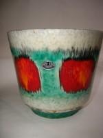 U Keramik Plant Pot West German Fat Lava Red Green