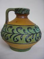 Marei Fat Lava Vase Green Pottery
